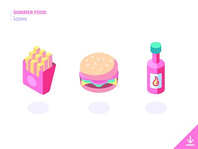 Burger & fries - 'Summer Food' icon set fast foot freebies summer food food summer icons isometric hot sauce fries hamburger junk food burger
