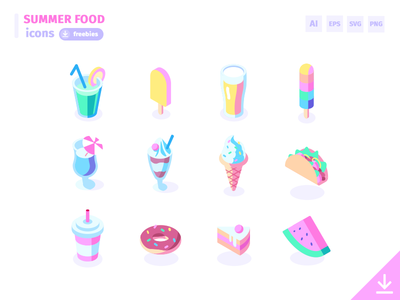 12 Summer Food Icons - Freebies