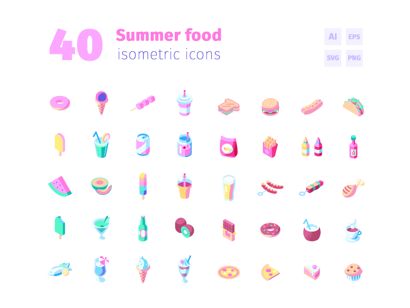 40 Summer Food Icons junkfood cocktails fruits ice cream summer food food summer vector icons isometric icon set