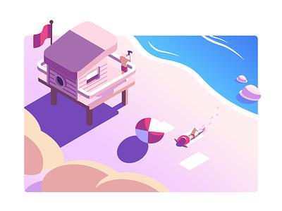 Summer Beach Illustration vector illustration sea ocean beach summer dune sand lifeguard tower