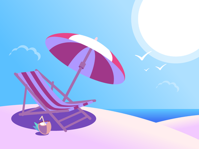 Deck Chair On Beach summer chair deck chair illustration dune sand cocktail sky sun umbrella ocean beach