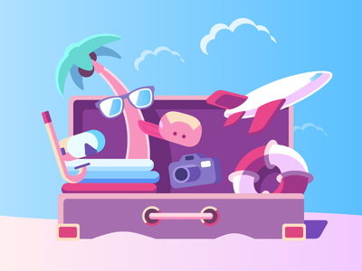 Holidays stuff suitcase traveling trip travel gear sunglasses diving mask summer stuff luggage beach summer holidays