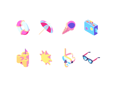 Summer beach icon set