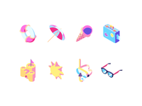Summer beach icon set