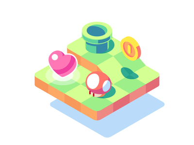 Mario basics isometric vector mario super mario level game mushroom life heart coin pipe 3d nintendo process