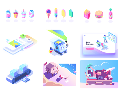 2018 top 9 holidays beach class food isometric illustration vector summer icon icons top