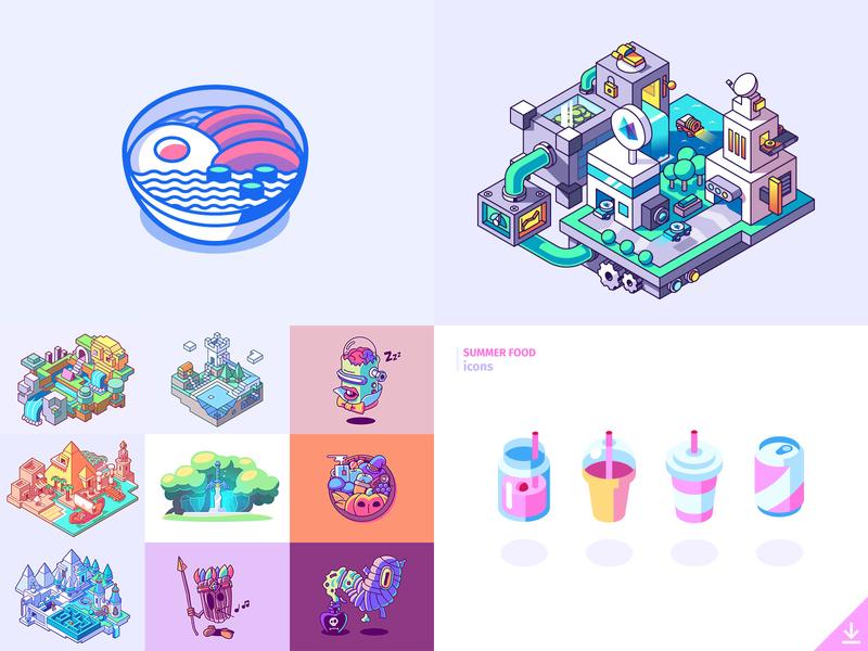 Top 4: 2018 drink beverage island illustration isometric noodles vector top