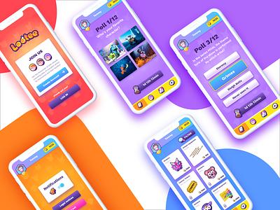Kids app UI illustration kids vector app icons icon screens quizz poll ui