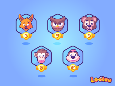 Animals avatars series illustration kids vector app icons icon avatar meerkat monkey bear owl fox