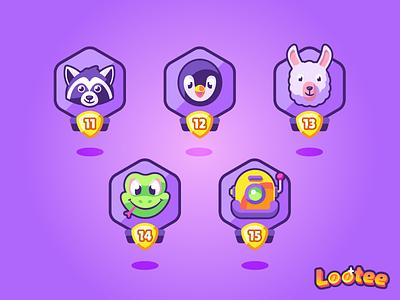 Epic tier avatars illustration kids vector app icons icon avatar robot lizard frog lama penguin raccoon