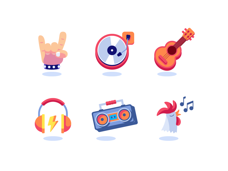 Music icons rocknroll alternative cock boombox headphones guitar icons dj disc rock music