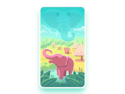 Elephant Nature Park, Chaing Mai illustration vector card natural park reserve jungle pond travel park thailand elephant
