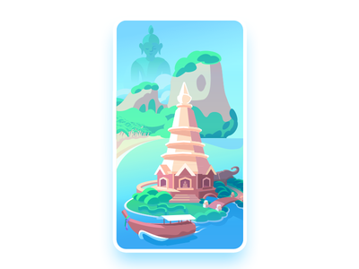 Thailand pathfinder card island ocean buddha boat elephant temple thailand card vector illustration