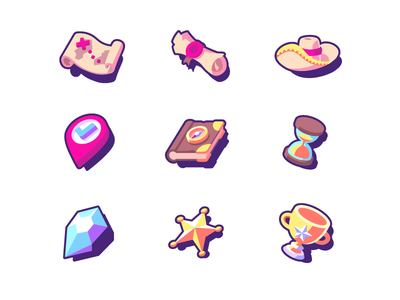 Travel app icons set icons prize cup sheriff star gem diamond hourglass codex book pin hat scroll parchment map treasure quest card