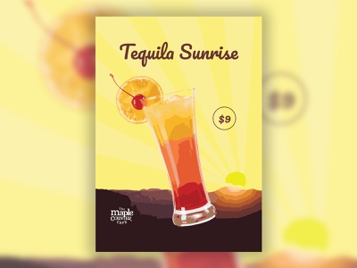 Tequila Sunrise Table Tent illustration beverage food 3d illustrator graphic table tent restaurant