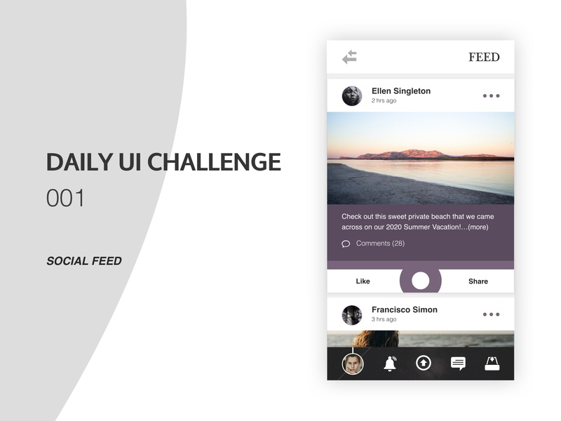 Daily UI Challenge 001 - Social Feed pallete color clean feed social ui design app daily ui