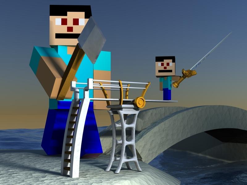 Minecraft + High Dive + Generic Sunset?? water ocean sand weapon axe sword diving board high dive diving dive minecraft concept design render art amazing 3d artist 3dmodeling 3d art 3d