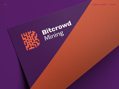 Bitcrowd Mining Logo tech logo corporate clean mark b identity branding type symbol logoma logotype logo digital crypto bitcoin mining bitcrowd