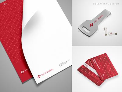 Via Carmina Collaterals letterhead design letterhead card design card brand identity design comunication collateral design collaterals brand collateral identity branding