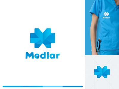 Mediar Logo logo grid medicine logo variations marketing collateral communication design blue corporate brand identity medical medical design medical care corporate design brand identity identity branding mark symbol logotype logomark logo