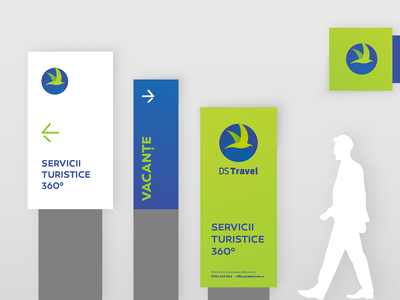 Ds Travel Signage brand applications corporate logomark symbol green branding design system brand identity system travel design travel agency travel turism brand collateral branding concept brand design signage design signage design brand identity identity branding