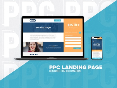PPC Landing Page - Designed for Automation minimal ui ux pay per click landing page design ppc web branding design