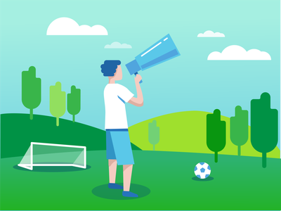 Sports Announcement flatdesign grass trees green blue flat illustration flat design clouds summer soccer outdoor flat art announcement sports design creative branding sports art illustration