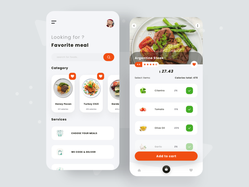 Concept of Restaurant meal & Delivery ingredients sport cart clean ui favorite reviews calories restaurant delivery lunch breakfast diet app diet minimal app clean talavadze design ux ui