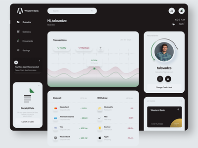 Financial Dashboard Concept it trending dark ui clean financial finance dashboad dashboard design dashboard ui dashboard app statistics financial app app talavadze design ux ui