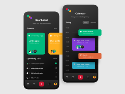 Mobile App Concept UI dark ui user experience user interface vector mobile app taskmanager calendar trending mobile design mobile ui clean app talavadze design ux ui