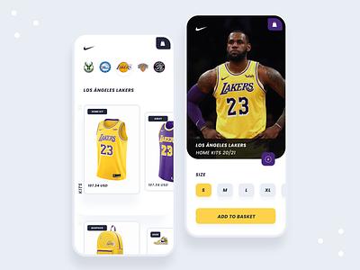 NBA E-Commcerce UI Concept shopping cart lakes nba trending app design e-commerce app ecommerce design ecommerce app e-comerce ecommerce branding minimal app identity clean talavadze design ux ui
