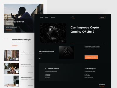 Crypto Landing Page Concept minimal dark ui crypto home page ethereum cryptocurrency trade bitcoin landing page minimalist minimalism minimalistic branding minimal ux talavadze design ui