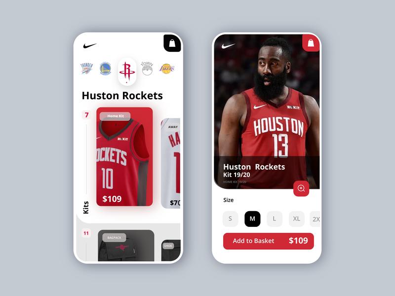 NBA - Nike - Shop App vector app photoshop talavadze branding ux ui design