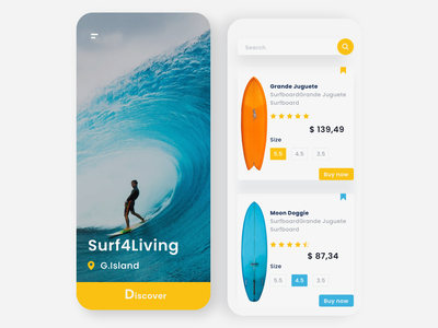Surf - App Concept mobile shop branding inspiration app wave surfing surf talavadze design ux ui