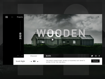 BARN Web Concept white black wooden landing page barn website inspiration minimal web identity talavadze ux design ui