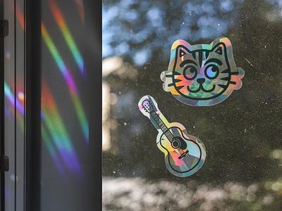 🌈 Rainbow Suncatchers cat guitar acoustic guitar suncatcher 🌈 rainbow