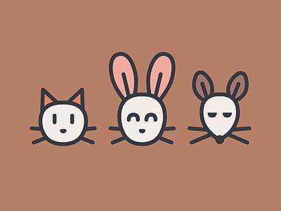 Cute creatures rabbit cat mouse animals