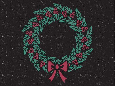 Holiday season illustration christmas wreath winter