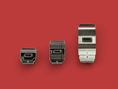Camera lens enamel pins