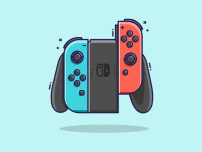 Joycons Flat Design graphic design design mario game minimal flatdesign joycon nintendo switch nintendo gaming illustrator