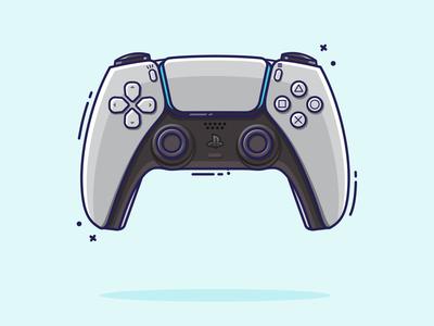 PS5 Dualsense Flat Illustration vectorart vector ps5 ps4 playstation illustrator illustraion graphic design sony gaming flatdesign flat illustration 2d art 2d