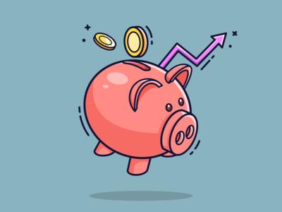 Dividends Theme Flat Illustration webdesign vector piggybank stocks savings investment investing gaming flatdesign illustrator illustration