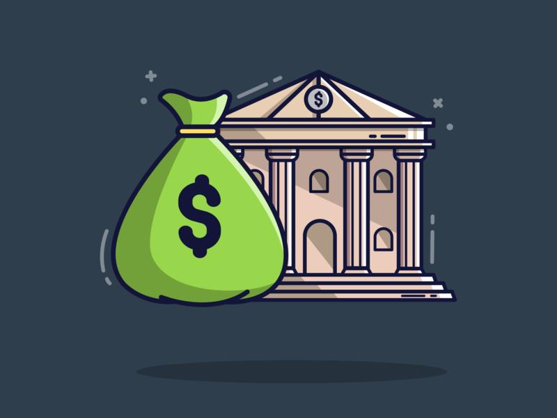 Finance Theme Flat Illustration banking finance bank gaming flatdesign illustrator vector graphic design illustration