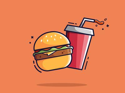 Eat & Drink Flat Illustration flat illustration minimal dribbble drink eat branding gaming flatdesign vector graphic design illustrator illustration