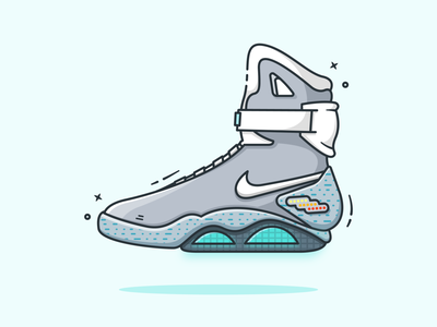 Nike Mag adobe illustrator 2d art shoes back to the future flat illustration minimal 2d nike shoes sneakers nike mag nike flatdesign vector illustrator