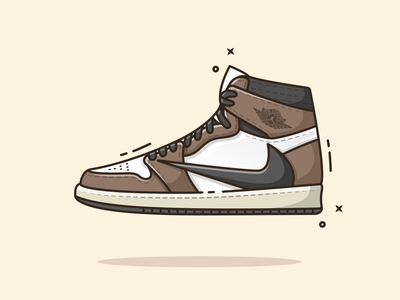 Nike Travis Scott Air Jordan 1 flat illustration 2d art 2d shoes flatdesign vector flat illustration illustrator minimal sneakers air jordan nike air nike