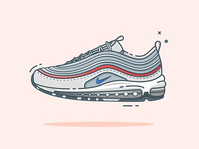 Nike Airmax 97 nike shoes shoe nike air flat illustration minimal airmax shoes sneakers nike air max nike flatdesign vector illustration illustrator