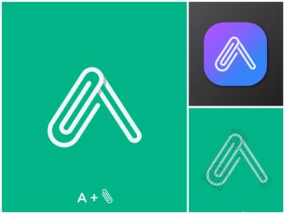 A+Paperclip Logo Concept. concept brand logo portfolio graphic design logo design design paperclip stationery branding brand logomark logo concept logo