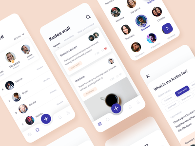 Kudos App - UI social app tabbar ui design app tags avatars wall leaderboard mobile ui ui mobile