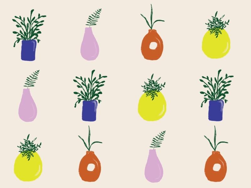 Plants indoor plant plant lady plants graphic pattern color palette illustration